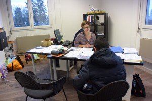Consultation avec Mme Sparta et un élève