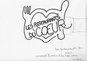 Les restaurants du cœur en serrant la main d'un sans-abris.