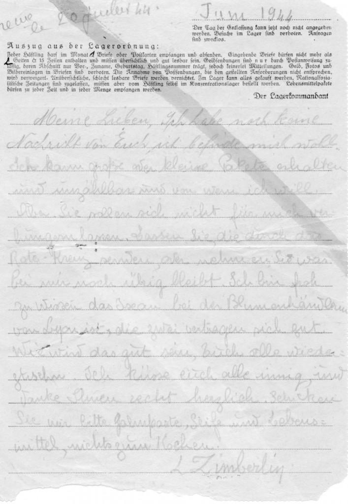 Lettre de MLZ, Ravensbrück, juin 1944