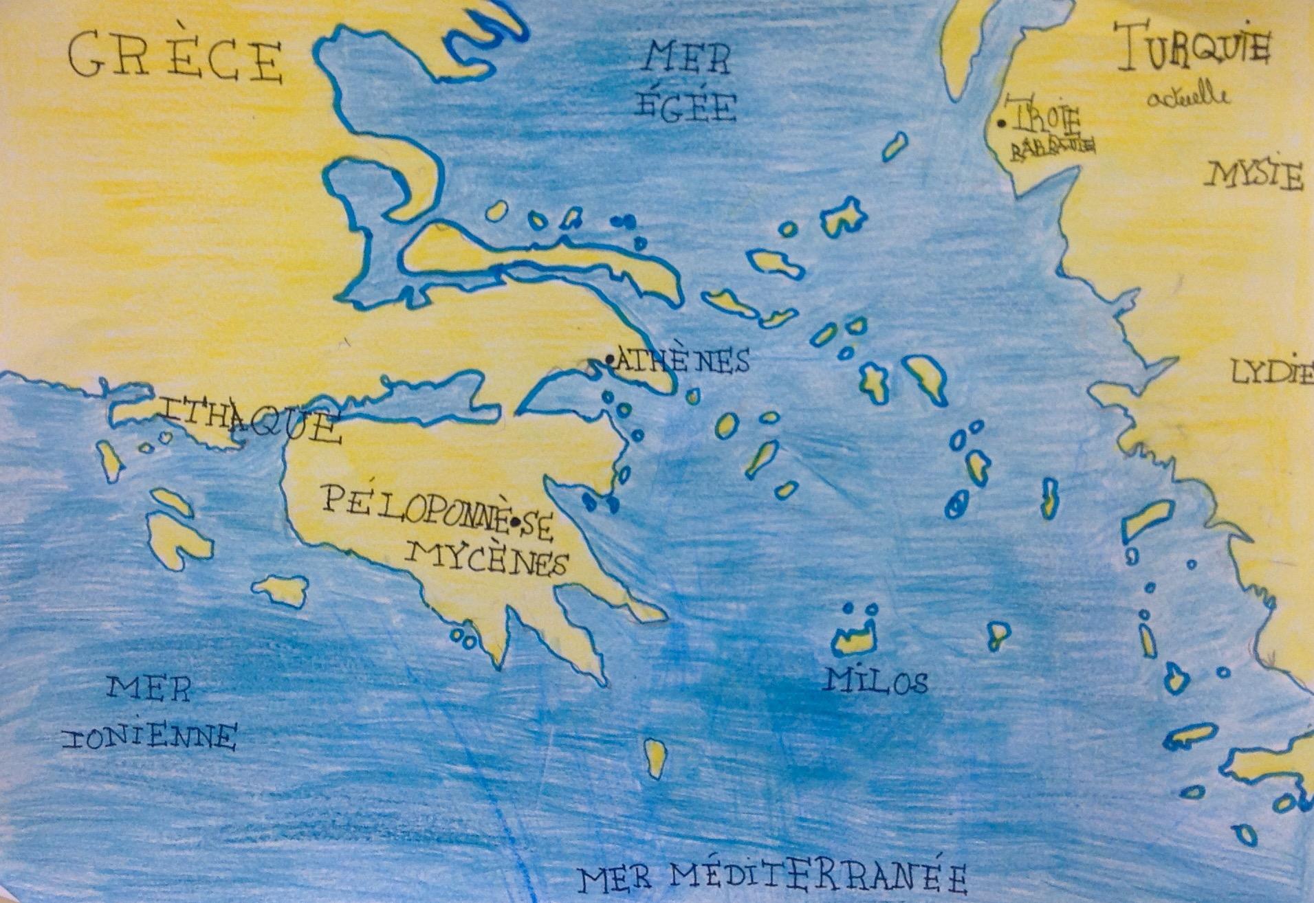 Carte situent la guerre de Troie